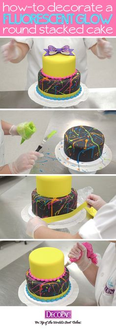 Learn how to make this trendy neon splattered cake with ready-to-place Gum Paste…
