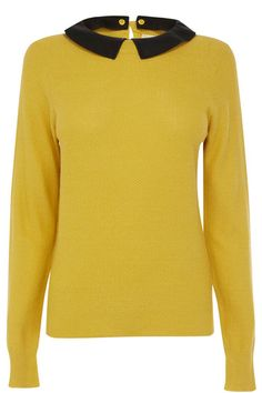 This on trend lightweight knit features a detachable faux leather collar. The piece features a textured waffle effect across the knit and has long slim sleeves. The piece is finished with a keyhole cutout and button fastening at the nape of the neck. Clara Oswald Clothes, Long Sleeve Sweater, Men Sweater, Yellow Sweater, Leather Collar, Collar Shirts, Shirt Sleeves, Knitwear, Tricot
