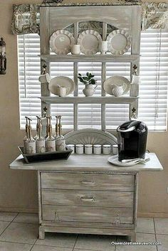 Made from old dresser and old door.                                                                                                                                                     Farmhouse Style  www.MaritimeVintage.com