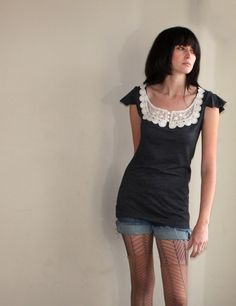 Feminine Lace Collar Tunic Braided trim flutter by Minxshop. $80.00, via Etsy.