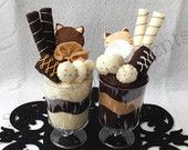 Chocolate Caramel Felted Sundae Cups: His and Hers / Couple / Paired gift, Gift Box Included