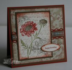 Stamps: Field Flowers, French Script, Elizabeth. Paper: Well Worn dsp, Soft Suede cs, Ch. Cobbler cs. Ink: Crumb Cake, Soft Suede (or E. Expresso?), Ch. Cobbler, Old Olive?. Punches: LG Oval, Scallop Trim Border.  Pearls, Snail Adhesive, dimensionals.