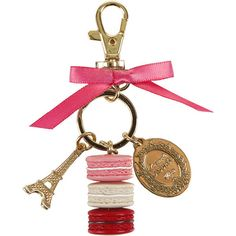 Ladurée Maracons Keyring - Small - Rose ($36) ❤ liked on Polyvore featuring accessories, jewelry, keychains, pink, gold key chain, ring key chain, gold key ring, pink key chains and key chain rings