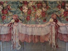 Custom Valance Floral Window Treatment Curtain Shabby Chic Vintage Fabric Lace | eBay