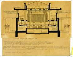 An exhibit at the Phoenix Art Museum explores the drawings of Frank Lloyd Wright. Here, a print from Unity Temple in Chicago, IL. Religious Architecture, Organic Architecture, Futuristic Architecture, Frank Lloyd Wright, Illinois, Falling Water House, Foundation, Milwaukee Art Museum, Architectural Section