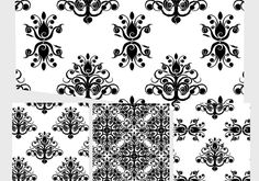 Baroque pattern set 5 Inside is a handful of baroque style photoshop baroque patterns for your enjoyment. Free Photoshop Patterns, Baroque Pattern, Baroque Fashion, White Patterns, Damask, Art Nouveau, Tapestry, Texture, Black And White