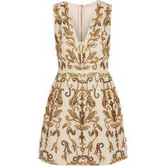 Alice + Olivia Prescilla embellished duchesse-silk mini dress ($1,205) ❤ liked on Polyvore featuring dresses, vestidos, short pink dress, mini dress, embellished cocktail dress, silk cocktail dress and print dress