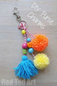DIY Purse Charms - make these easy charms in any colour and bead combination to make them just right for you. Great as gifts too