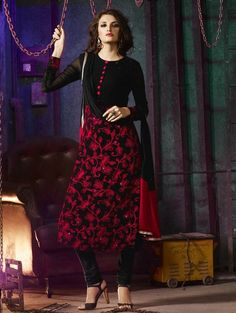 Black and Red Net Suit with Embroidery Work Punjabi Dress, Punjabi Suits, Indian Wedding Outfits, Indian Outfits, Simple Anarkali, Indian Fashion Dresses, Mehndi, Cloths, Desi