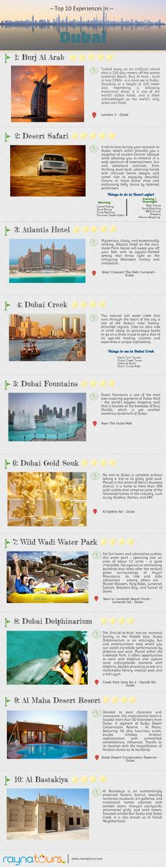 Top 10 Experiences In Dubai    #Dubai #Travel #infographic