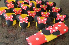 Handmade Minnie mouse themed napkin ring holders!