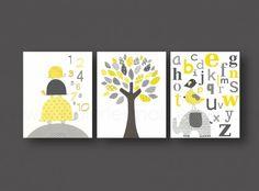 Lot de 3 illustrations pour chambre d'enfant et bebe jaune et gris  : Décoration pour enfants par galerie-anais sur ALittleMarket