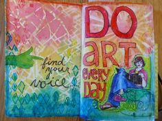 Mixed Media Art Journal pages by Janet Joehlin using the December StencilClub stencils from StencilGirl.