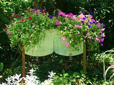 Double washtub as garden planter