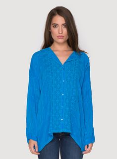 Johnny Was Collection Chloe Boxy Button Down Blouse in Cobalt Blue