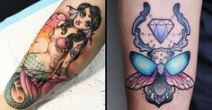 Pinks, purples, blues, greens and yellows - we're crazy about these cute pastel tattoos!