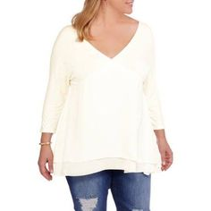 Plus Size Extra Touch Juniors' Plus Knit Top with Dolman Sleeves and T Back, Size: 2XL, Beige