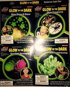 Science By Me Beginner Glow In The Dark Science Kit 4Pack  Glow Snow  Stars  Glow Creatures  Glow Magic Bouncing Balls  Glow Crystal Growing *** Be sure to check out this awesome product. (This is an affiliate link)