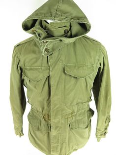 Vtg 40s M 1943 WWII Hooded Field Jacket Coat 34 R US Army Military Olive Green | eBay