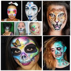 30 Quick & Easy Face Paint Ideas for Adults: Tutorials & Videos Peacock Face Painting, Face Painting Tips, Butterfly Face Paint, Face Painting Designs, Zombie Face Paint, Pop Art Zombie, Sugar Skull Face Paint, Mask Face Paint, Cheetah Face Paint