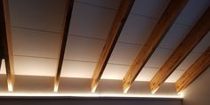 Exposed IsoBoard Ceiling with a beveled finish. IsoBoard thermal insulation is waterproof, flame-spread resistant and if properly installed, will last the lifetime of the building. Exposed Ceilings, Exposed Rafters, Basement Remodeling, Basement Ideas, Interior Ceiling Design, Cabin Lighting, Ceiling Installation, Massage Room, Thermal Insulation
