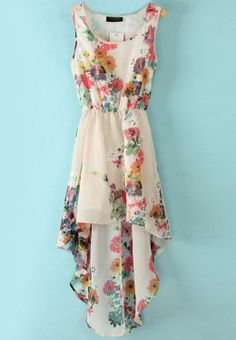 White Sleeveless Bandeau Floral High Low Dress - love the flower print!!!