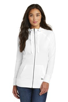 09902bc24793 This lightweight New Era Ladies Sueded Cotton Full Zip Hoodie has lived-in