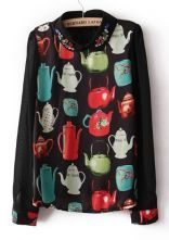 #sheinside  Black Long Sleeve Kettle Print Rhinestone Blouse $29.84