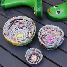 Make unique nesting bowls from recycled magazine or catalog pages....great catchalls for keys and fun gifts too!