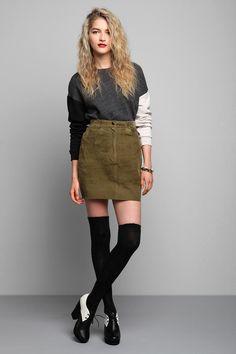 Vintage '80s Green Suede Mini Skirt #urbanoutfitters #vintage