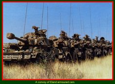 Convoy of Eland Armored Cars Army Vehicles, Armored Vehicles, Once Were Warriors, South African Air Force, South Afrika, World Conflicts, Military Branches, Defence Force, Armored Fighting Vehicle