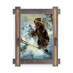 Framed in a rustic-style design, these distressed frames, are the perfect complement to the art they enhance grizzly with bandana going over big ski jump. Art by Mason Maloof Designs.