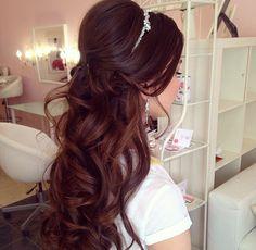 Half up half down wedding hairstyles, long hair, curls, waves