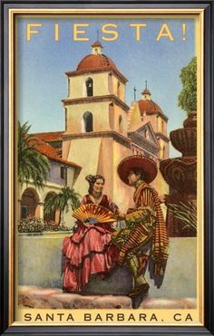 VIntage Poster for Fiesta Days Santa Barbara California