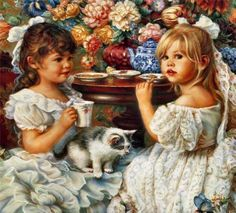 I love this one with the kitten and the two girls having tea ( by Sandra Kuck)