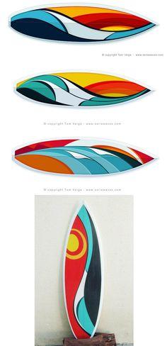 Tom Veiga é o autor da Série Waves, artes com inspiração nas ondas do mar. Ele foi convidado para criar novas estampas da Billabong, representando o Brasil num terreno recheado de gringos. As roupas ficaram sensacionais com o trabalho do artista, fugindo daqueles florais pavorosos.