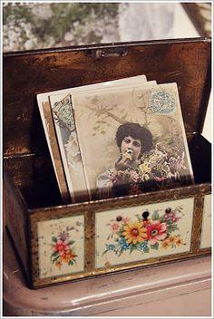 Grandma's House. Old photos in an old tin.