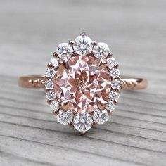 Peach Sapphire Engagement Ring with Diamond Halo (2.15ct)