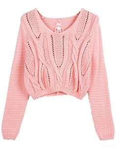PrettyGuide Women Eyelet Cable Knit Lace Up Crop Long Sleeve Sweater Crop Tops (PInk)