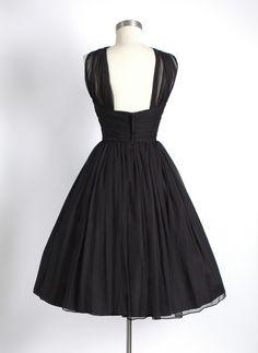 HEMLOCK VINTAGE CLOTHING : 1950's Black Gathered Chiffon Party Dress