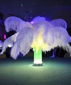 Lighted feather centerpieces in glow water.