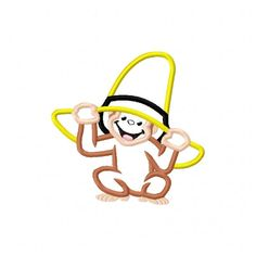 Monkey With Hat Applique Embroidery Design