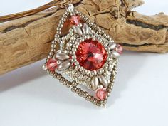 Diamond Shaped Red Bead Pendant  Swarovski by BeauBellaJewellery #jewellery #necklace #diamond #beads #red #Swarovski #crystals #rivoli #etsy #handmade #beaubella
