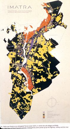 Alvar Aalto at Imatra Architecture Student Portfolio, Architecture Drawings, Urban Analysis, Site Analysis, Map Diagram, Map Quilt, Map Design, Graphic Design, Concept Diagram