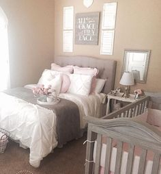 Love how the master bedroom is shared with the baby crib