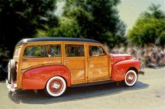 Classic Woody Station Wagon Canvas Print / Canvas Art by Roger Soule Cool Trucks, Cool Cars, Vintage Cars, Antique Cars, Car Station, Woody Wagon, Interior Logo, Ford, Sport Cars
