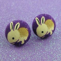 Rabbit Earrings  Bunny Fabric Covered Buttons  by MelissaAbram, $10.00