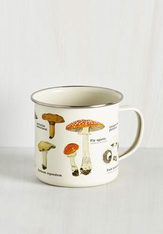 Toadstool for School Mug. Spend your day off exploring your natural baking talent as you savor the scenic details adorning this metal enamel mug! #multi #modcloth