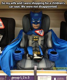 It's a BATMAN CAR SEAT, y'all ! And it's not just a meme -- you can buy one via the link. [See more geek parenting pins at https://www.pinterest.com/yrauntruth/baby-geeks/ https://www.pinterest.com/yrauntruth/when-geeks-reproduce/ ]