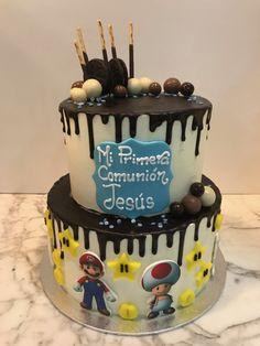 Tarta buttercream con dripp de chocolate y Mario Bros. Mario, Birthday Cake, Chocolate, Desserts, Food, Fondant Cakes, Lolly Cake, Candy Stations, Tailgate Desserts